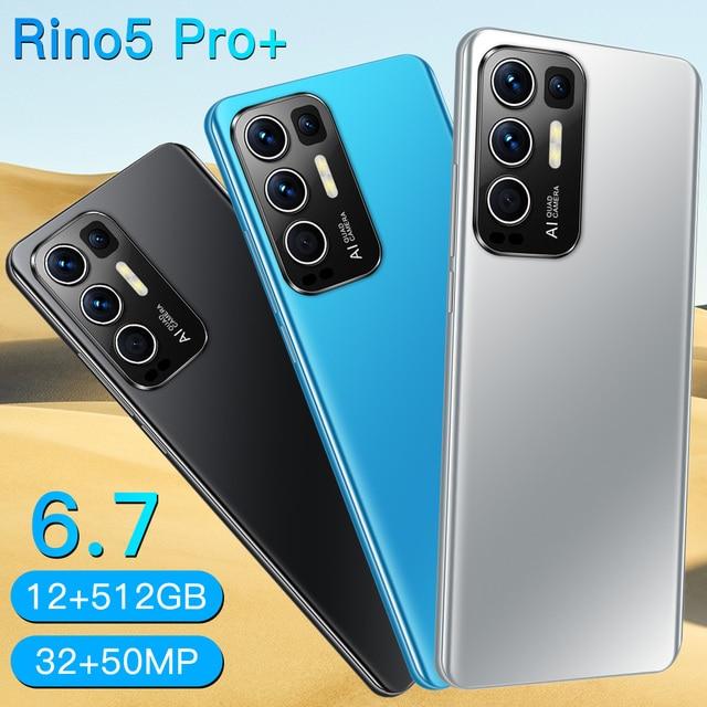 2021 Newest Smartphones Rino5 Pro 6.7Inch 16+512GB Face Fingerprint Mobile Phone MTK6889 32+50MP 6800mAh Andriod11.0 Cellphone 3