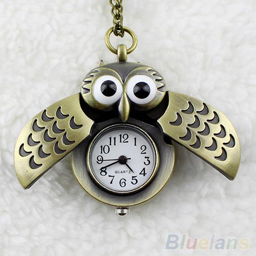 Vintage Watches Bronze Retro Slide Smart Owl Pendant Long Chain Necklace Pockets Watch Roman Numerals Vintage Bronze Steampunk