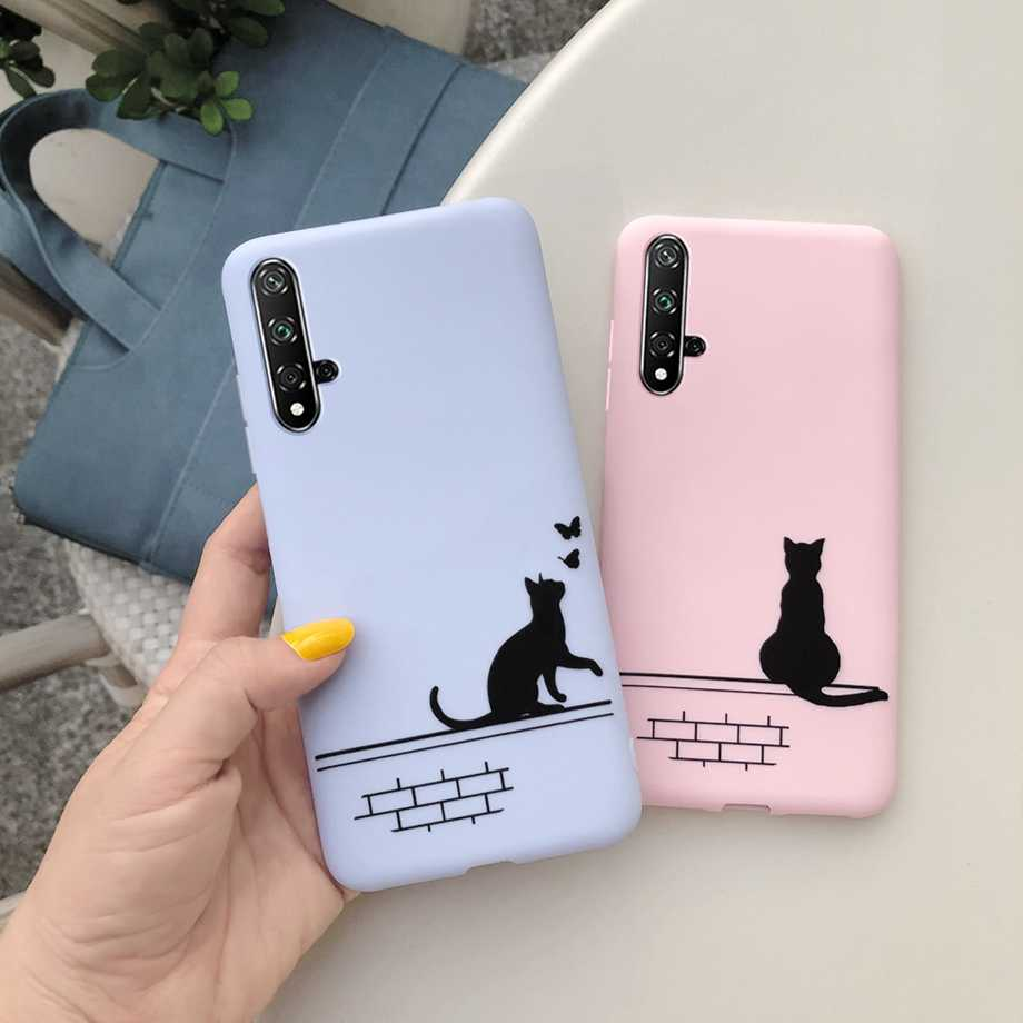 For Huawei Nova 5T Phone Case Cat Cartoon Design TPU Silicone Candy Color Back Cover for Huawei Nova5T 5 T Nova 5T case cover