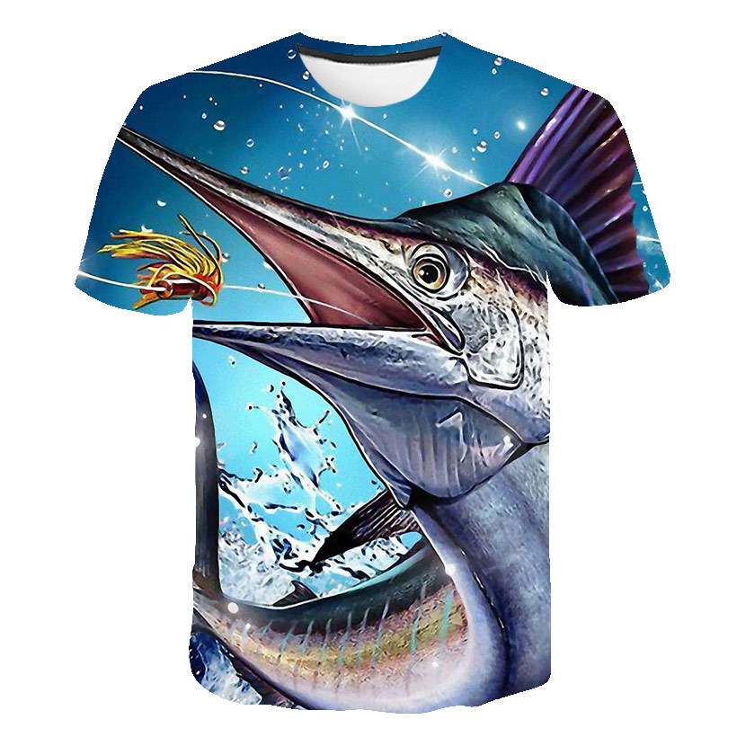 2020 New Fish 3D Print Casual Fashion T-Shirt  Europe And America Style Beauty 3D Trend Casual Elegant Tops