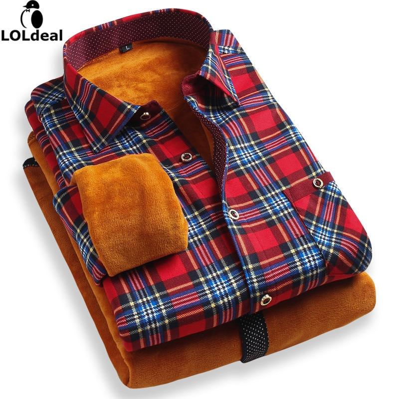 Loldeal camisa de flanela masculina inverno natal xadrez quente camisas manga longa magro