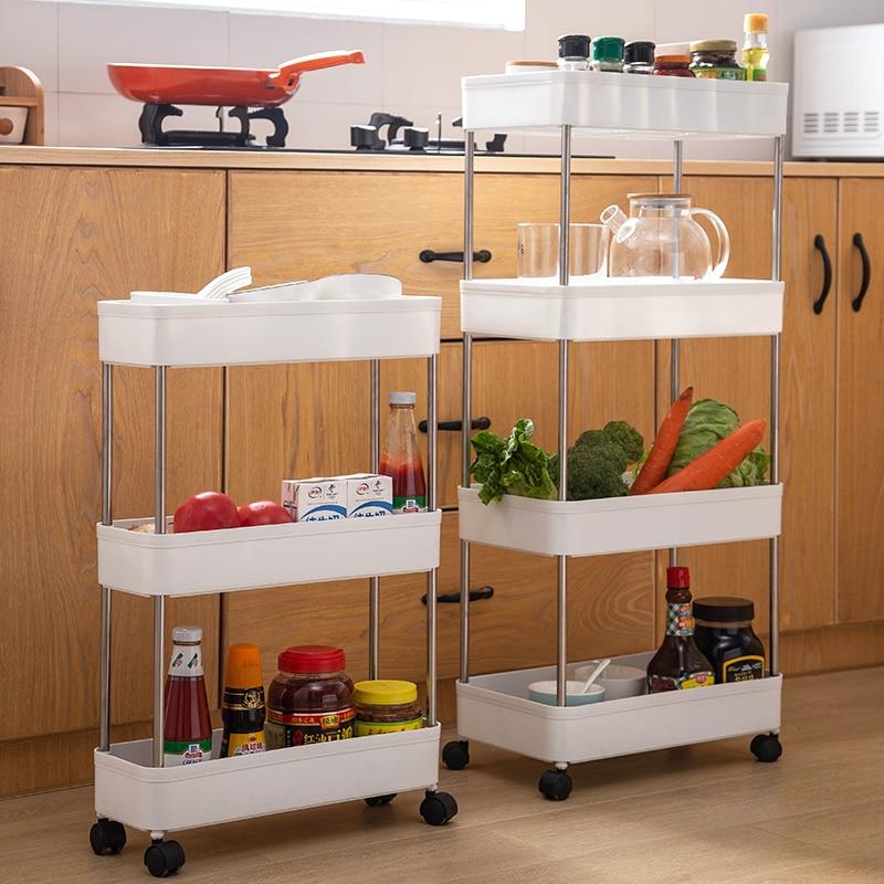 Multilayer Storage Kitchen Organizer Rolley Rack With Wheel Trolley Cart  Bathroom Movable Household Stand Holder Storage