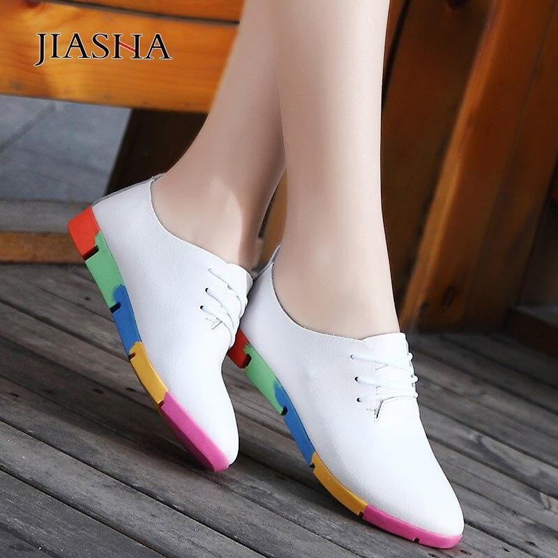 Women Shoes 2019 New Breathable Genuine Leather Shoes Woman Tenis Feminino Women Sneakers Plus Size Nurse Peas Flats Shoes
