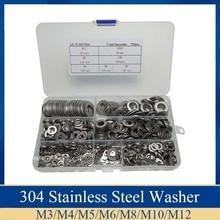 720PCS Stainless Steel Flat Washers Hardware Set 7 Sizes M3 M4 M5 M6 M8 M10 M12