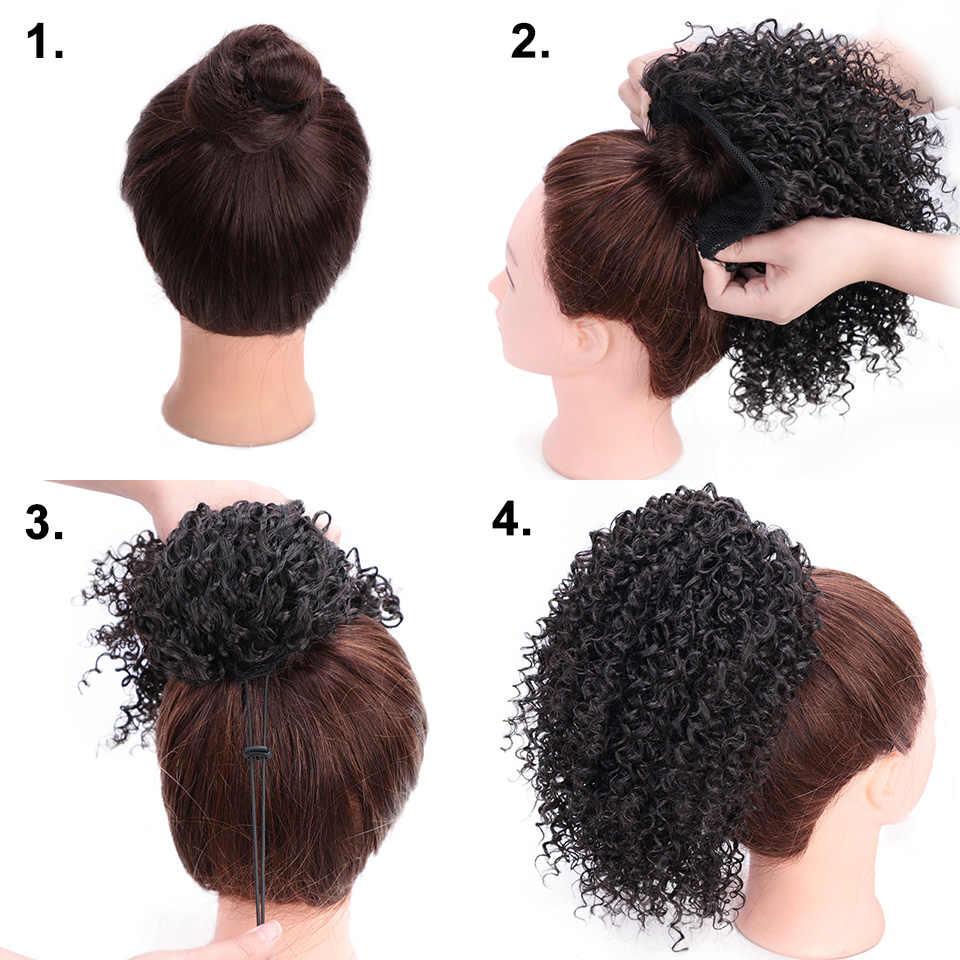 Gestempelt Glorious Kurze Afro Lockige Pferdeschwanz Haarknoten Extensions Verworrene Clip in Pferdeschwanz für African American Schwarzen Frauen