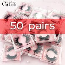 Colash casella Personalizzata falso occhio ciglia Naturali 100% fatti a mano di spessore Ciglia Finte Ciglia di Visone Ciglia Piazza 50 box