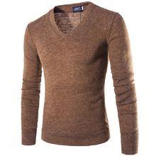 Осенне зимний мужской джемпер с кроличьим плюшем свитер v образным