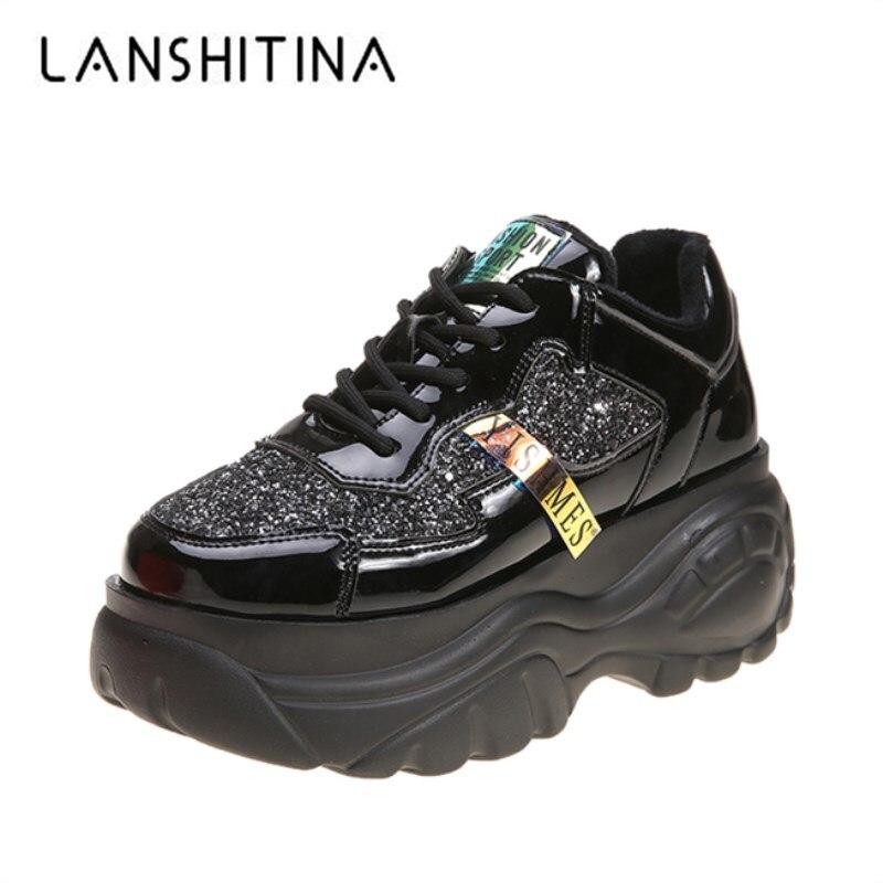 2020 Spring Women High Platform Sneakers New Leisure Dad Shoes 7CM Heels Bling Casual Shoes Autumn Botas Feminina Harajuku Shoes