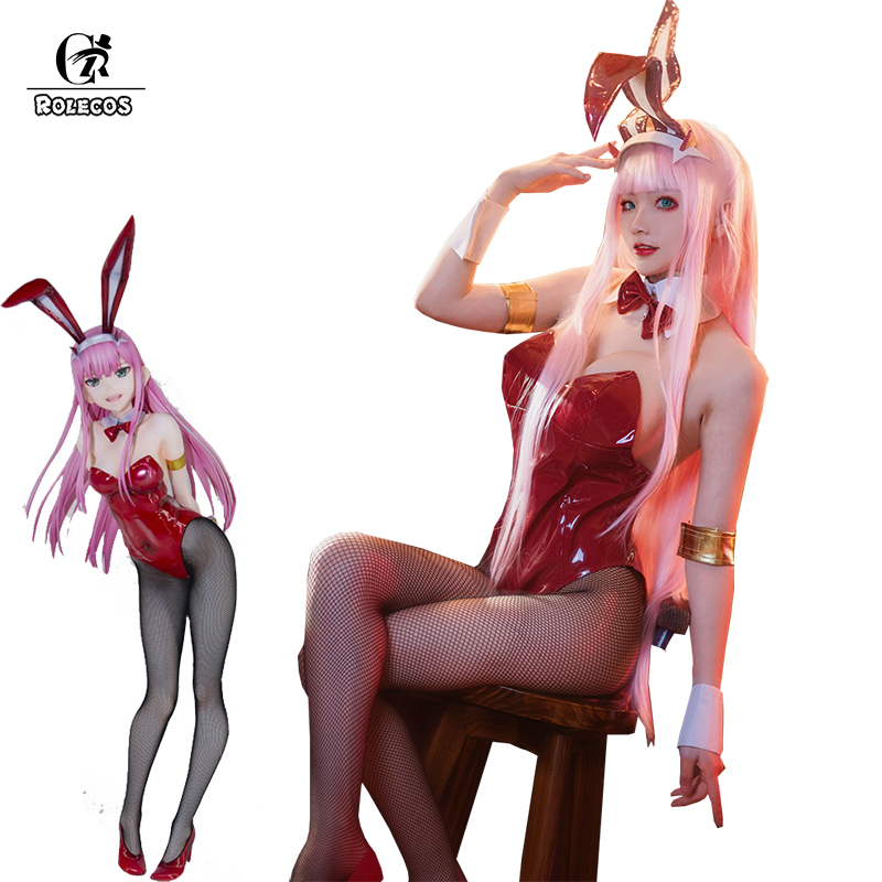 ROLECOS Anime DARLING In The FRANXX Cosplay Costume Zero Two Bunny Girl Cosplay Costume 02 Sexy Women Jumpsuit Red Leather Suit