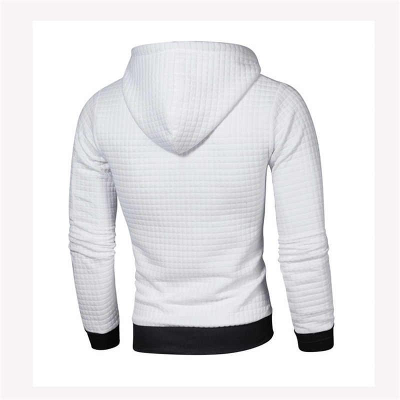 Herbst Langarm Lauf Jacke Männer Plaid Außen Sport Mantel Mit Kapuze Engen Sweatshirt Gym Training Jacken Jogging Trainingsanzug