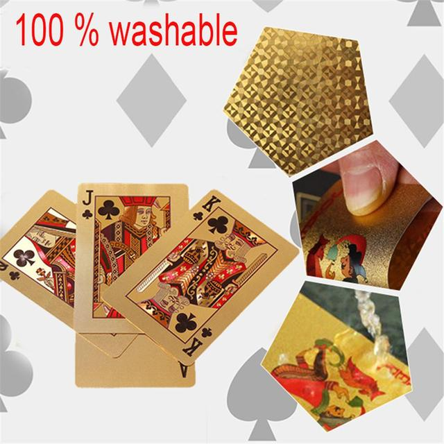 24K Gold Playing Cards Poker Game Deck Gold Foil Poker Set Plastic Magic Card Waterproof Cards Magic 1