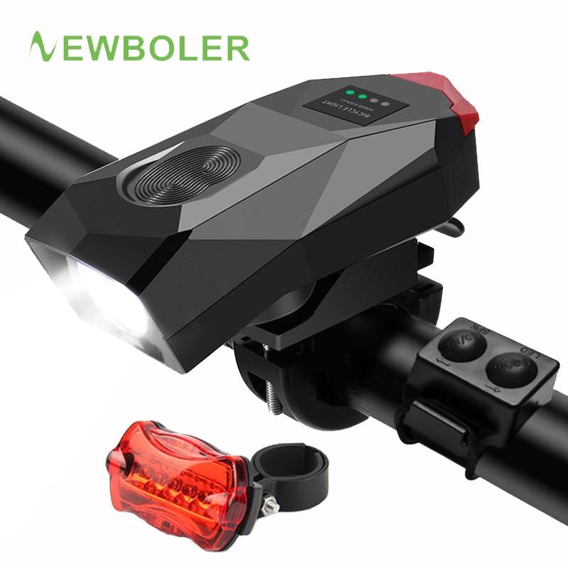 Spor ve Eğlence'ten Bisiklet Işığı'de NEWBOLER 2000mAh bisiklet ışık hoparlör bisiklet ön işık su geçirmez bisiklet far USB şarj edilebilir pil arka ışık title=
