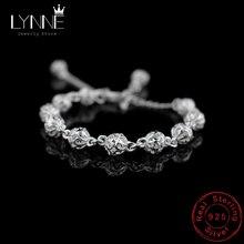 LYNNE, pulseras de cadena con cuentas de bolas huecas Vintage para mujer, nuevo Punk Rock, pulsera de plata de ley 925, Unisex para regalo de joyería