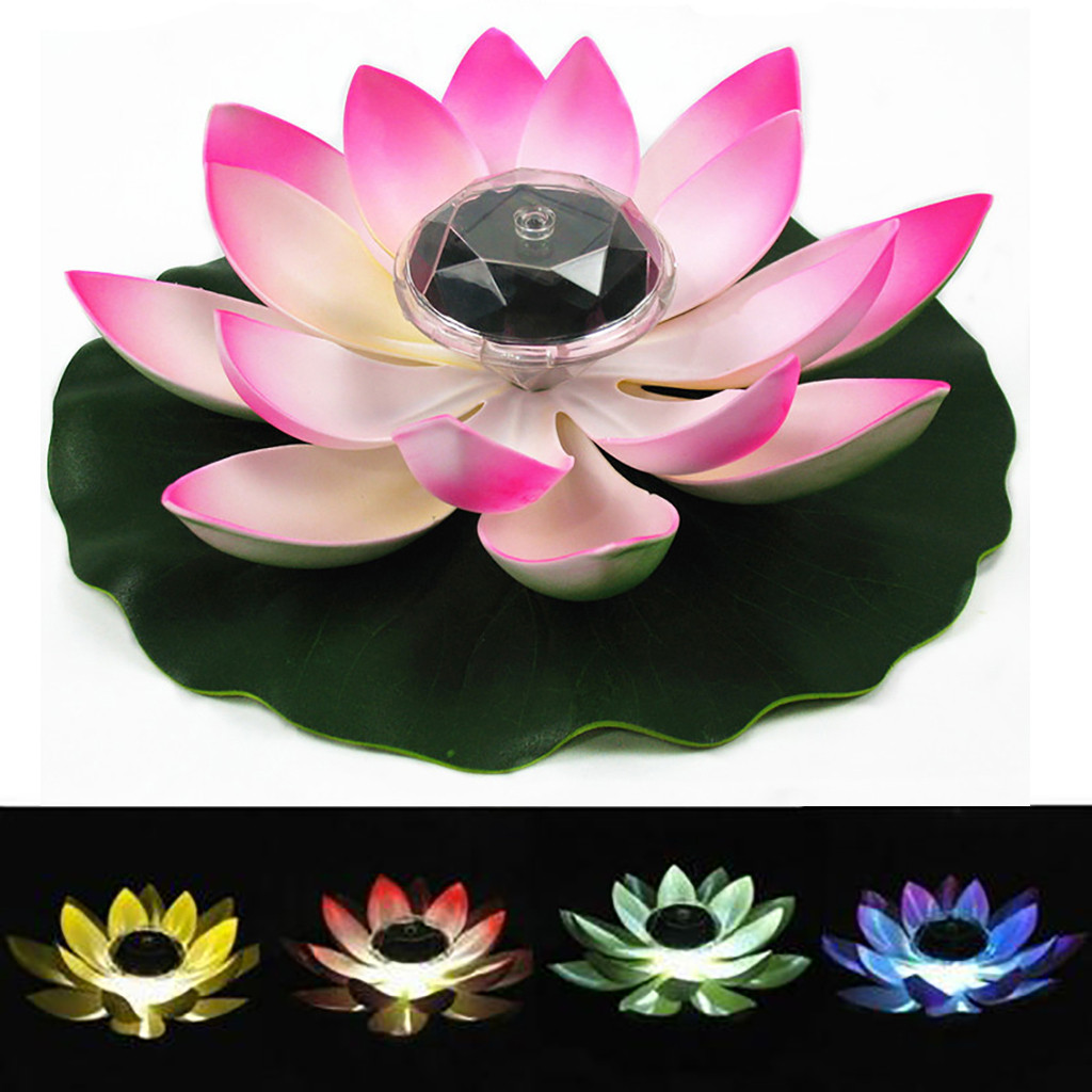 Solar Powered LED Flower Light Floating Fountain Pond Garden Pool Lamp Realistic Lotus Shape Led Bright Lamps Bulb^30