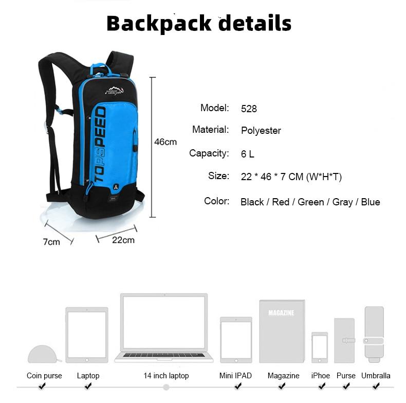 INOXTO 6L Cycling Bag Men's Women Riding Waterproof Breathable Bicycle Backpack,Bicycle Water Bag,Bicycle helmet