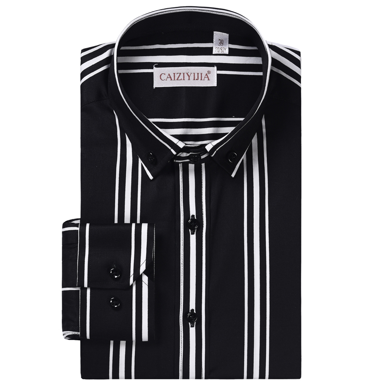Men's Long Sleeve 3-Color Striped Dress Shirts Comfortable Cotton Smart Casual Button Down Collar Easy Care Shirt