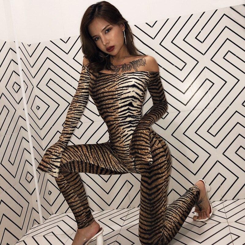 Women Sexy Bodysuit Sexy   Jumpsuit   2019 Leopard Print Tiger Print Slash Neck Slit Long Sleeve Women Streetwear Slim Outfits Body