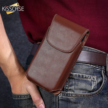 Kisscase capinha universal de couro, capinha de celular de 5.5/4.7 ''para iphone 7 8 6 6s 5 5S se 4S sacos de cintura com coldre vertical, capa de cinto