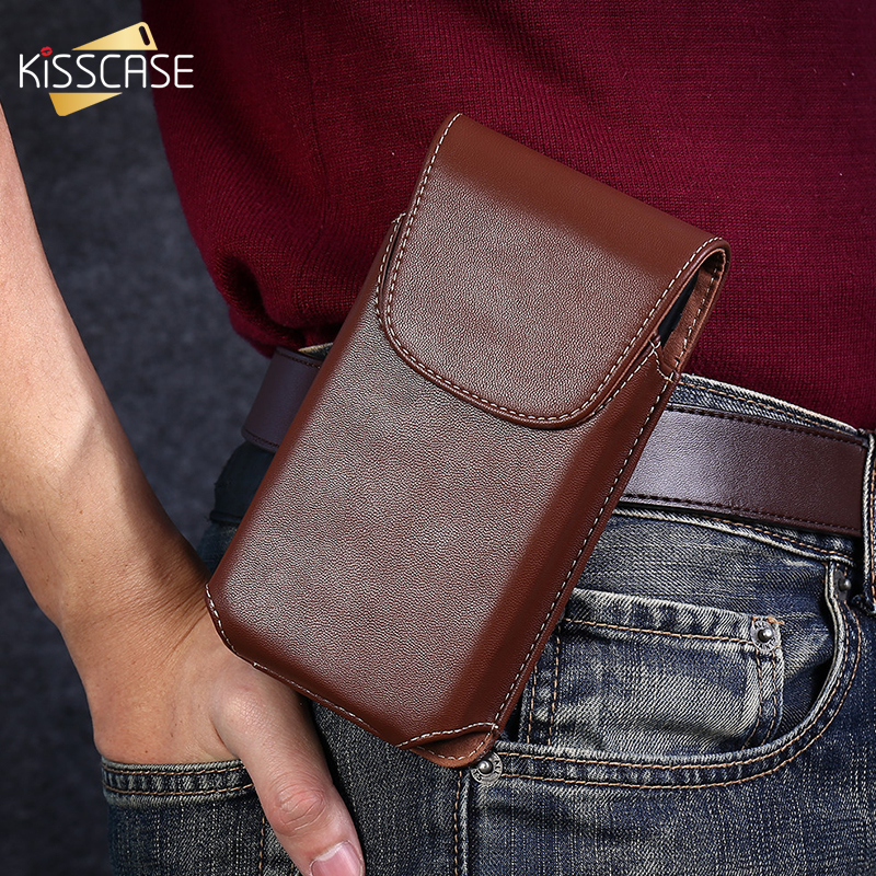 KISSCASE 5.5/4.7'' Universal Pouch <font><b>Leather</b></font> Phone Case For <font><b>iPhone</b></font> 7 8 <font><b>6</b></font> 6s 5 5s SE 4S Waist Bags Holster Vertical Belt Clip <font><b>Cover</b></font> image
