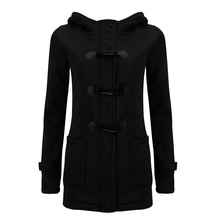 Women Spring And Autumn Hooded Plus Size 7 Colors S-6XL Mixed Cotton Classic Horn Leather Buckle Jacket Warm Coat