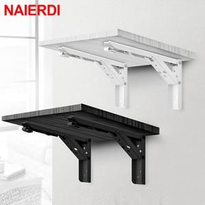 Image 1 - NAIERDI 2PCS 삼각형 접는 각도 브래킷 무거운 지원 조정 가능한 벽 마운트 벤치 테이블 선반 브래킷 가구 하드웨어