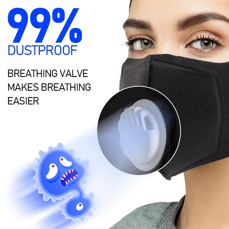 4/6/8pcs Respirator Mask With Breathing Valve Washable Cotton Activated Carbon Filter Mouth Masks Dust Mask