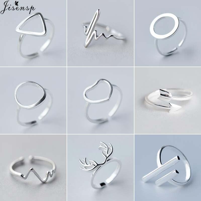 Jisensp Vintage geometryczne srebrne kolorowe pierścienie dla kobiet regulowane serce okrągłe bicie serca fala pierścień Trendy biżuteria prezenty ślubne