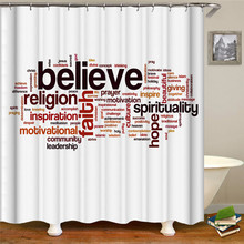 Letter printed solid color fabric waterproof polyester shower curtain for home decoration