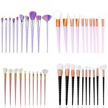 10pcs Unicorn Makeup Brush Set Foundation Blending Powder Eye shadow Make Up Brushes White Black Cosmetic Beauty Make Up Tools d цена 2017