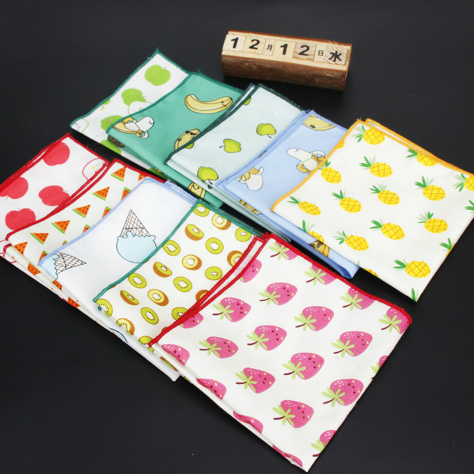 Men's Handkerchief Cotton Floral Pocket Square 24cm*24cm For Men Party Business Wedding Accessories Fruit Printed Hankies