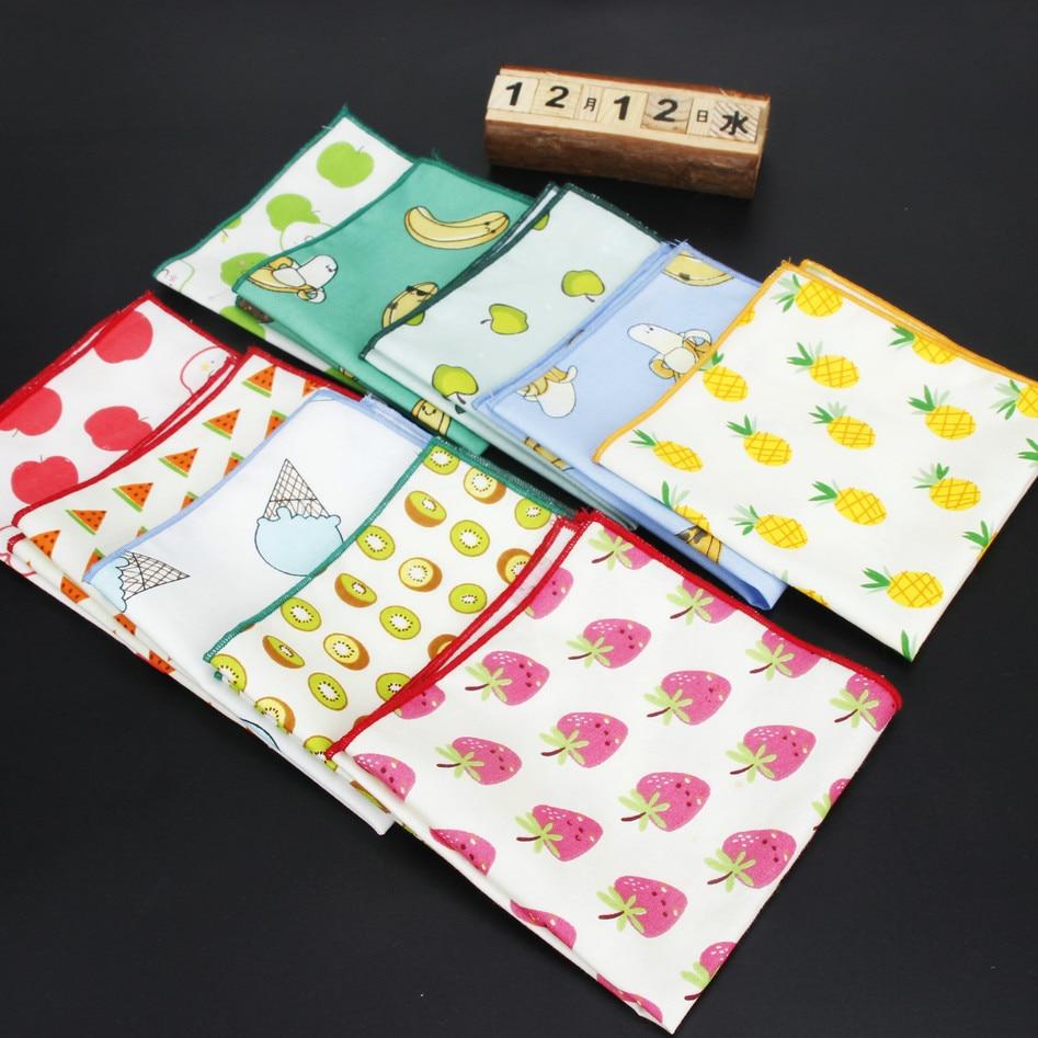 Men's Handkerchief Cotton Floral Pocket Square 24cm*24cm For Men Party Business Wedding Accessories Fruit Printed Hankies