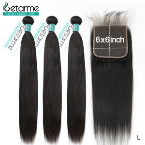 Getarme Hair Brazilian Straight Hair Bundles with 6x6 &4x4 Lace Closure 100% Remy Human Hair Extensions Bundles For Black Women