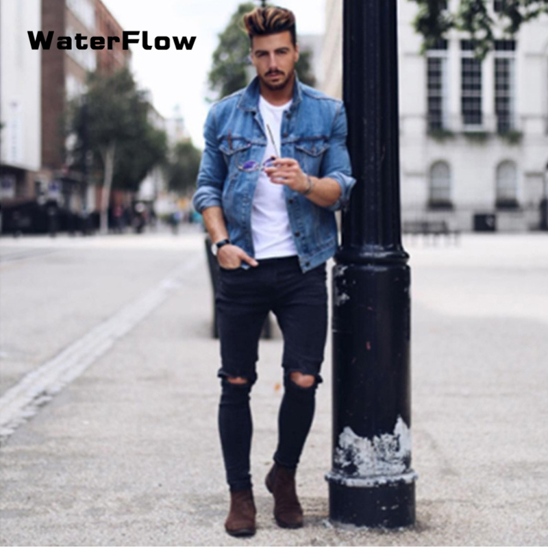 2019 New Sexy Hole Male Zipper Jeans Pants Men Knee Ripped Skinny Jeans Men Vintage Denim Pencil Pants Casual Stretch Trousers