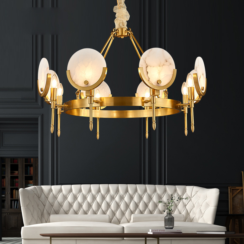 All Copper Living Room Chandelier Postmodern Light Luxury Natural Marble Dining Room Bedroom Study Light 2019 NEW