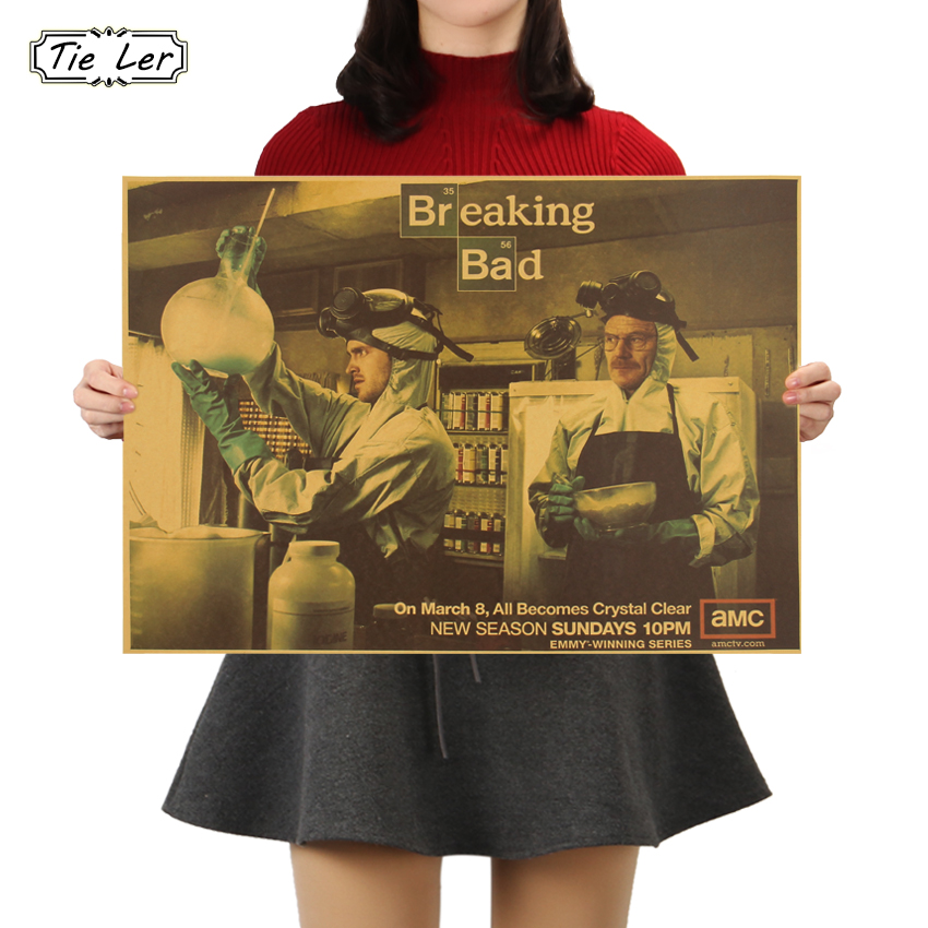 TIE LER Breaking Bad Wall Sticker Classic American TV Series Poster Retro Craft Paper Poster 51.5X36cm