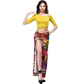 Women Dance Costumes Set Belly Practice Clothing Sexy Long Skirt Suits Female Performance Printed