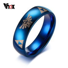 Vnox Stylish Blue Ring for Men The Legend of Zelda Logo Stainless Steel Boy Party Ring Cool Geometry Male Jewelry