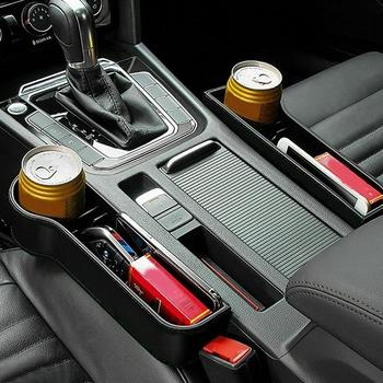 The New 1Pair Left Right Auto Car Seat Crevice Plastic Storage Box Cup Phone Holder Organizer Stored Reserved Design Accessories image