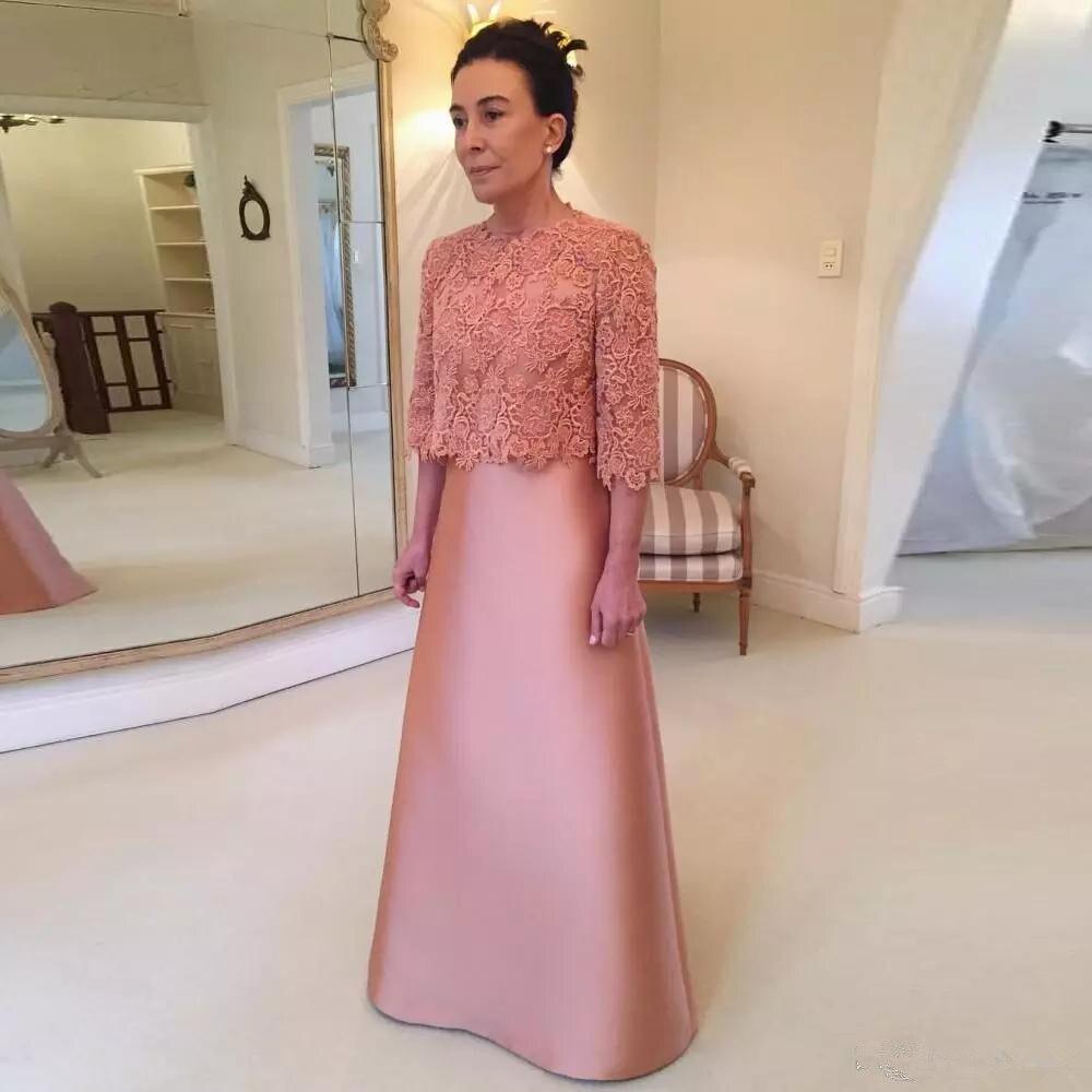 Mère de la robe de mariée avec dentelle veste 3/4 à manches longues Satin une ligne étage longueur formelle robe de soirée fête personnaliser