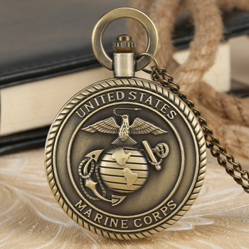 Classic United States Marine Corps Pattern Pocket Watch for Men Outstanding Alloy Slim Chain Pendant Necklace for Women Gift the united states marine corps workout rev