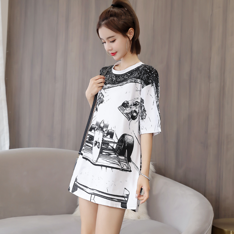 Hong Kong-style Fashion Trend Printing Short-sleeved Long T-shirt Summer 2019 New Loose Round Neck Casual Comfortable Women Tops