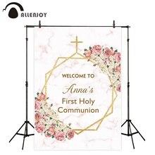 Allenjoy Prima Comunione sfondo di marmo floreale dorato cornice baby shower battesimo ragazza Gesù Dio sfondo photozone
