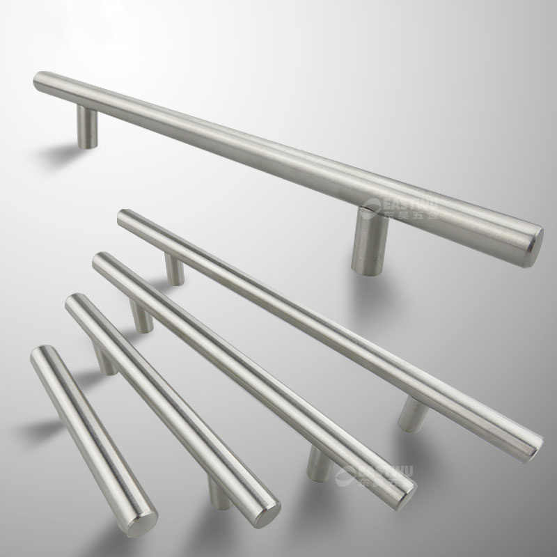 "Diameter 10 Mm Stainless Steel Dapur Pintu Kabinet T Bar Pegangan Tarik Tombol 2 ""~ 24'' Pintu Tarik handle Stainless Handle Pintu"