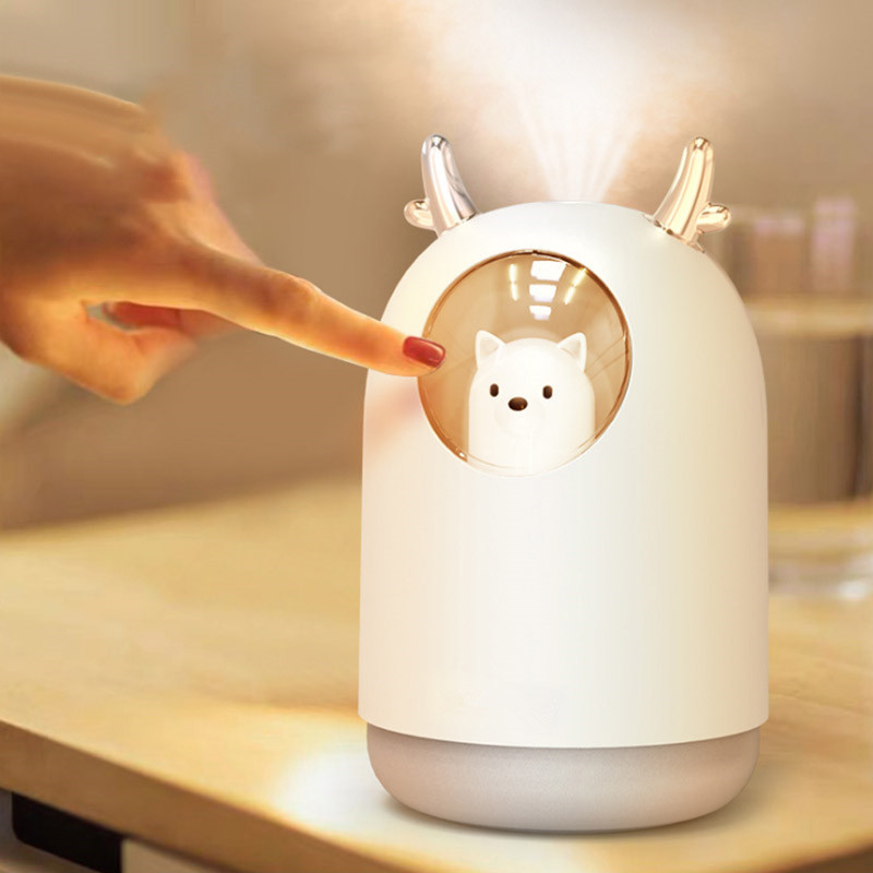 220-340ML Ultrasonic Humidifier Aroma Diffuser USB Air Purifier Cute Pet Deer Aromatherapy Night Light Cool Mist Fogger For Room