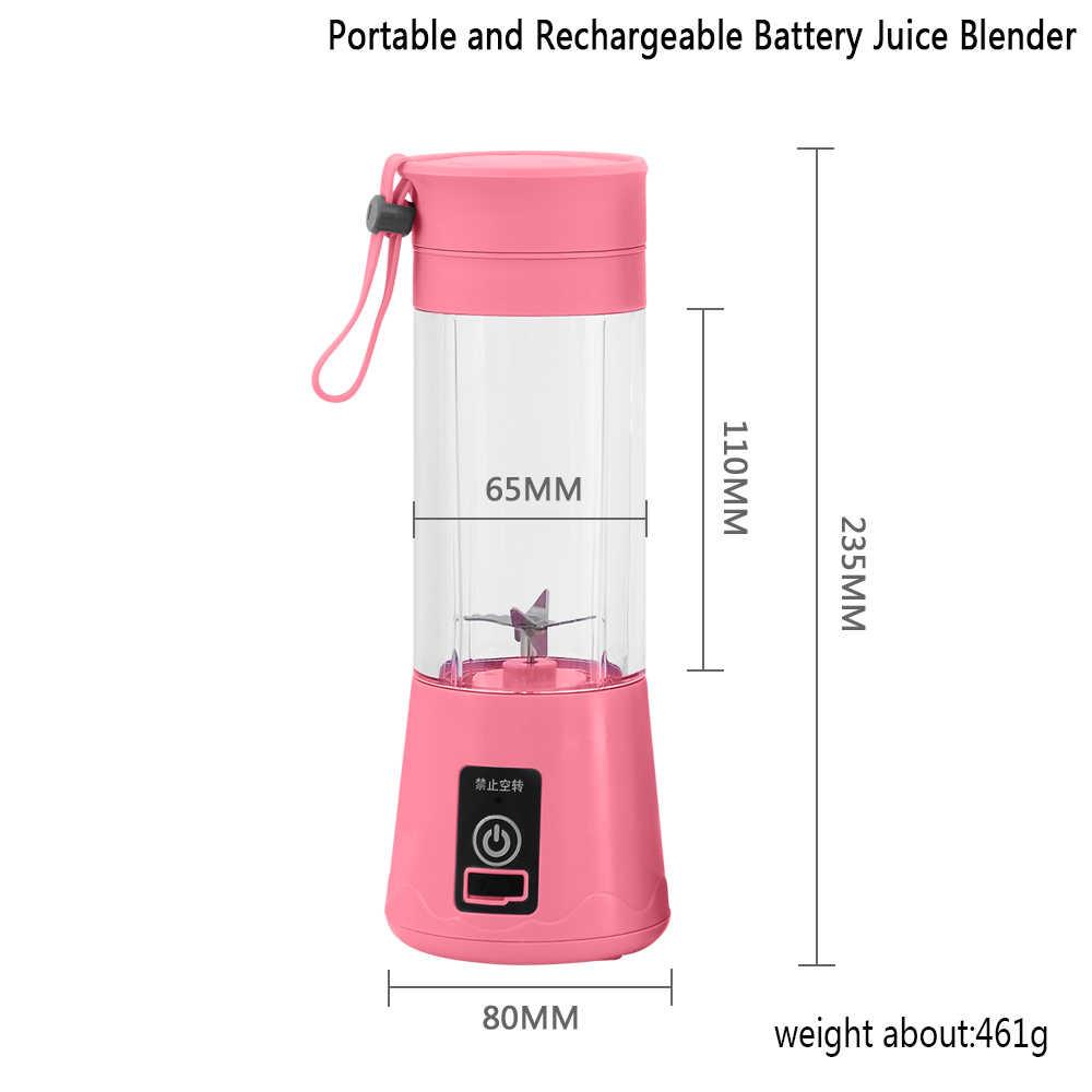 380 мл 6 лезвий USB перезаряжаемая портативная электрическая соковыжималка для фруктов, смузи, блендер, миксер для фруктов, бутылка, чашка для сока