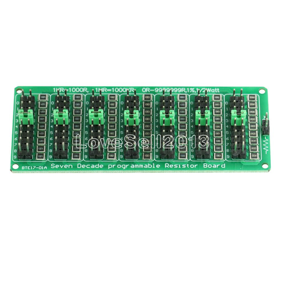 1R - 9999999R Adjustable Seven Decade Programmable Resistor Board Step 1R 1% 1/2 Watt