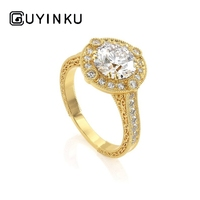 GUYINKU Solid 14K Gold 1.5ct 7.5mm EF Color Moissanite Halo Ring With Side Pattern Engagement Ring For Women Wedding Gift