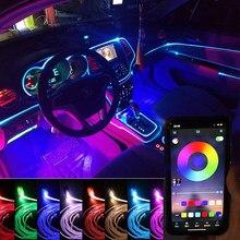 EL cable Led luz Interior de Ambiente de coche de APP Control de sonido en EL modo RGB colorido ambiente Flexible luz Lámpara decorativa