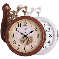 European Double sided Clock Living Room Large Two sided Clock Mute Creative Clock Modern Quartz Clock Hanging Watch