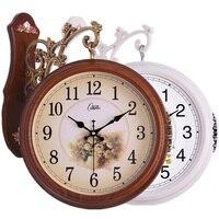 Europeu duplo-face relógio sala de estar grande relógio de dois lados relógio mudo criativo moderno relógio de quartzo pendurado